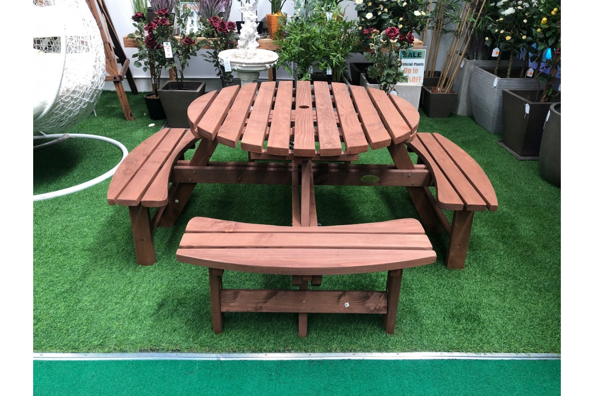 Outdoor Garden Deck Backyard Patio Wood Round Picnic Table With Four Bench Seat Tgop
