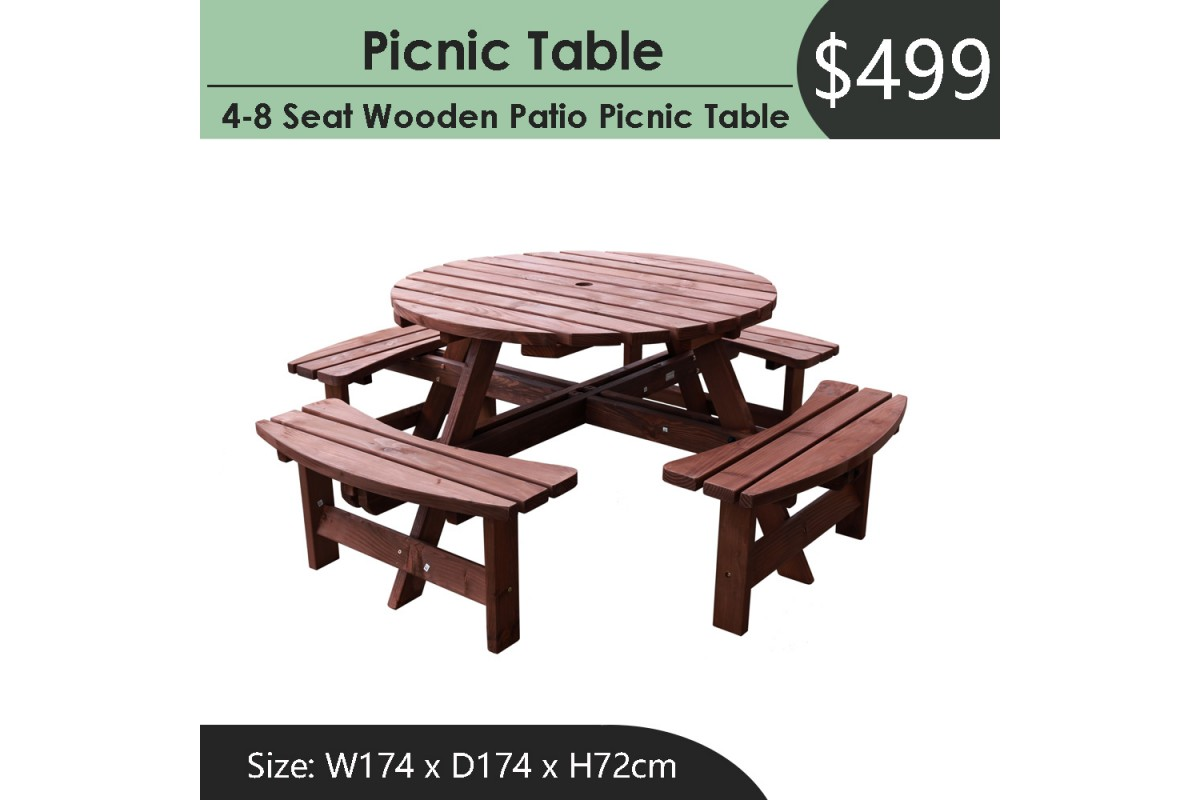Picture of: Outdoor Garden Deck Backyard Patio Wood Round Picnic Table With Four Bench Seat Tgop