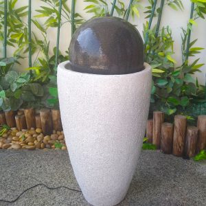Black Ball on Grey Vase Fountain Water Feature For Indoor and Outdoor